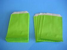 25 Flachbeutel Papiertüten kräftiges Papier bunt kiwi grün 7 x 12 cm NEU