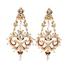 UNSIGNED Earrings PERCOSSI PAPI Studs Big Red Chandelier Pearl Light X12