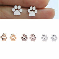 Fashion Women Dog Paw Print Earrings Gold Silver Plated Ear Stud Jewelry Gift L7