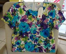 One Clothing Floral Top, Zippered Back. Multi-Color, Size M