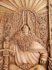 Vikings Norse God Odin Wood carved wall art home decor Valkyrie