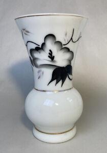 Vintage White Opaline Glass Vase, White w/Black Flowers & Gold Trim-Handpainted