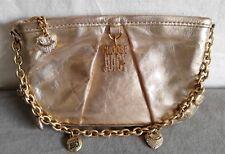 JUICY COUTURE Gold Genuine Leather Mini Bag Rich Rhinestone Charm Chain Purse