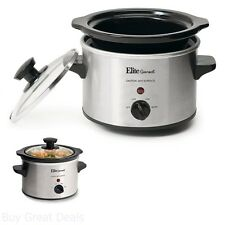 Elite Gourmet Crock Pot Portable 1-1/2-Quart Slow Cooker 120W Cool-touch Handles