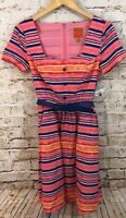 Modcloth dress womens small pink navy striped pinup sweetheart short sleeve BO