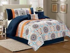 7PC Navy Blue/White/Orange Sun Burst Flower Pleat Comforter Set W/Accent Pillows