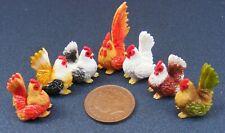 1:12 Scale 6 Handmade Clay Chickens & A Cock Tumdee Dolls House Garden Farm Pet