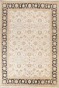 IVORY/ BLACK Floral Tebriz Wool/ Silk Oriental Area Rug Hand-knotted 9x12 Carpet