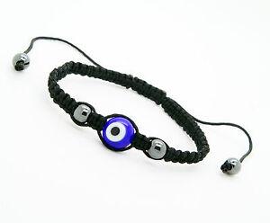 Evil Eye GOOD LUCK Bracelet Glass Blue Adjustable sizeNylon Cord