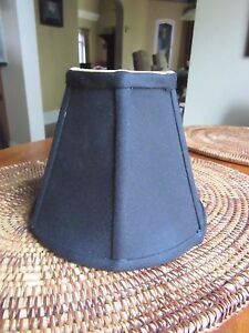 "New  Chandelier Lamp Shades 6 inch x 5""  Black Silk with Gold Lining 6 available"