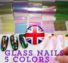 !HOT! BROKEN GLASS 5 Colors NAILS EFFECT Stickers FOIL  MIRROR Efekt Szkla