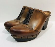 Earthies Freiburg Clogs Womens 6 B Brown Woven Studded Western Mules Heels Shoes