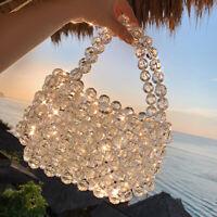 Ladies Crystal Beaded Bag Handmade Weave Acrylic Bags Clear Handbags Clutch Bag