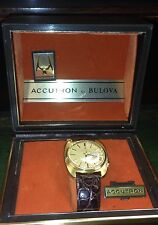 Unused New Old Shop Stock 18ct Gold Day Date  Bulova Tuning Fork Accutron 1969.