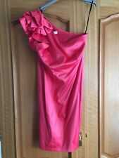 Women's One Shoulder Ruffle Party Prom Evening Dress  Coral Pink 14 Mini Ladies