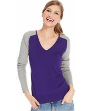 American Living NWT Size SMALL Colorblock V-Neck Long Sleeve Sweater Purple/Gray