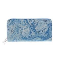 Womens Wallet Blue Marbelized Pattern Cute Purse Pretty Girls Clutch