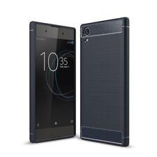 Sony Xperia xa1 plus Funda móvil Funda TPU carbon fiber protección cover azul estuches