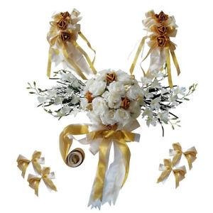 12 Pieces Wedding Car Decorations Kit Silk Flower Ribbon Bows Set