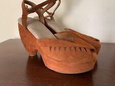 Vintage Suede Platform Sandals 8.5 8-1/2