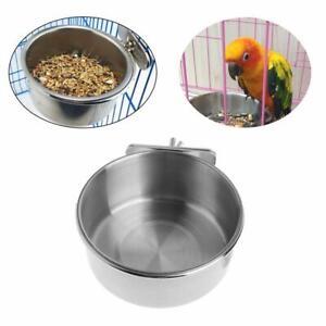 Edelstahl Haustier Vogel Futterspender Napf Rostschutz Parrot Trinkwasser Platte