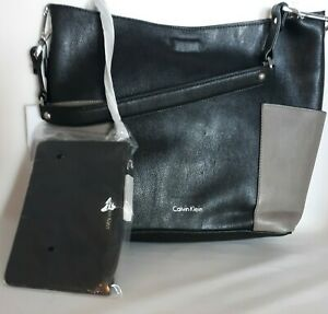 Calvin Klein Reversible Bag with removable inside purse Black/Grey NWT