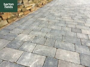 Tumbled 2 Size Block Paving, Courtyard Style in Graphite Blend Colour, Pk 8.35m2
