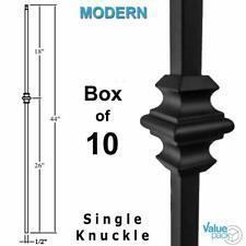 Single Knuckle Modern Iron Baluster (10-Pack) Hollow Metal Spindle (Satin Black)