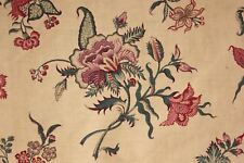 Antique French Indienne printed cotton curtain fabric 19th bed hanging 1850-1880