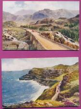 2 Valentine's Postcards: Pass Nant FFrancon , Grt Orme and Marine Dr. LLandudno
