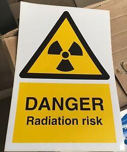 Warning Sign - DANGER Radiation risk - 300 x 200mm Safety Signs
