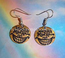 WE'RE ALL MAD HERE CHESHIRE CAT CHARM EARRINGS SILVER ALICE IN WONDERLAND
