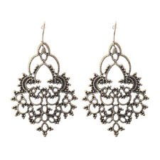 Womens Vintage Bohemian Boho Carved Flower Retro Bronze Teardrop Dangle Earrings