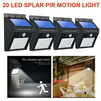20 LED Outdoor Solar Lights Motion Sensor Wall Light Waterproof Garden Yard Lamp