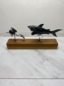 Vintage 1980s Original Flea Greg Quayle Metal Sculpture Shark And Scuba Diver