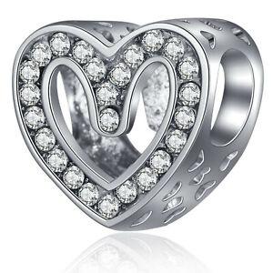 European Silver Cz Charm Beads Pendant Fit S925 Sterling Bracelet Necklace Chain