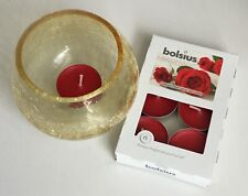 Crackle Candle Holder - amber with pk6 rose scented tea lights gift