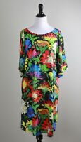 JAMS WORLD $134 Dahlia Vibrant Painted Floral Shirred Sleeve Dress Size Medium