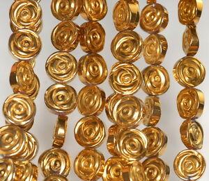 "10MM GOLD HEMATITE GEMSTONE ROSE FLOWER CARVED 10MM LOOSE BEADS 16"""