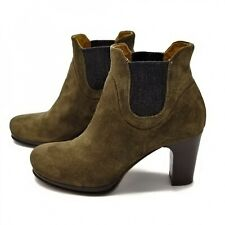 Green Suede Ankle Booties Women 38 7.5 Alberto Fermani Italian Chelsea Boot Heel