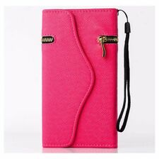 iPhone 4 4s Luxury Wallet Leather Case Zipper Cases Card Holder Cover HOT PINK