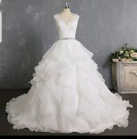 UK New Ivory Ruffle Organza Sleeveless Lace Belt A Line Wedding Dresses Size 8