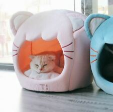 New Cute Pet Dog Cat House Beds Kennel Tent Cushion Cat Head Shaped Kitty Small