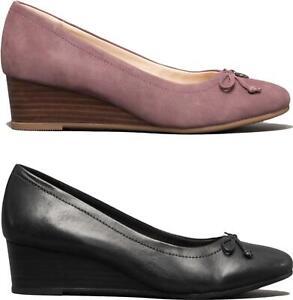 Hush Puppies MORKIE CHARM Ladies Modern Elegant Everyday Leather Wedge Shoes