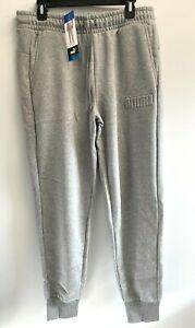 PUMA Mens L,XL,XXL Fleece Athletic Embossed Logo Sweatpants Joggers Pockets Gray