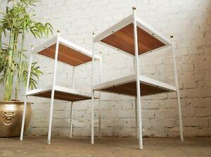 2 x Vintage Mid Century Modern Modernist Metal Bedside Cabinets Side Lamp Tables