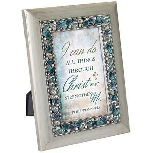 I Can Do All Things Philippians 4:13 Silver Finish Jeweled 4x6 Framed Art Plaque