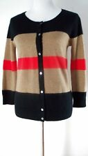 Donna Karan DKNY 100% Cashmere Tan Red Black Color Block Cardigan Sweater S