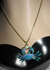BETSEY JOHNSON BLUE CRAB WITH BLING NECKLACE
