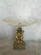 Collectible Mid-Century Modern Marble & Brass Color Metal Cherubs Bowl/Compote